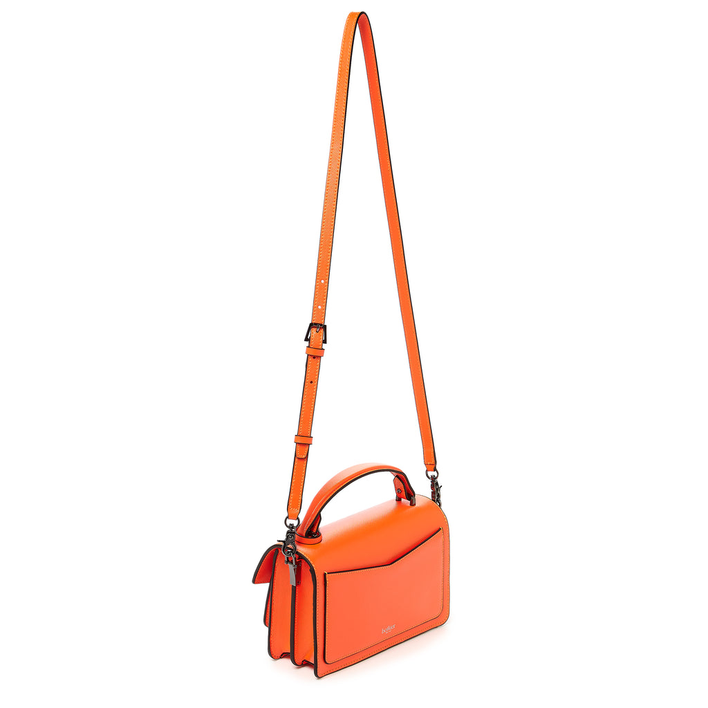 botkier cobble hill crossbody neon orange leather strap