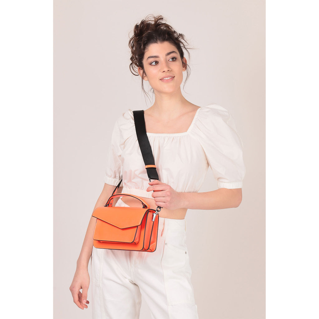 botkier cobble hill crossbody neon orange on figure crossbody
