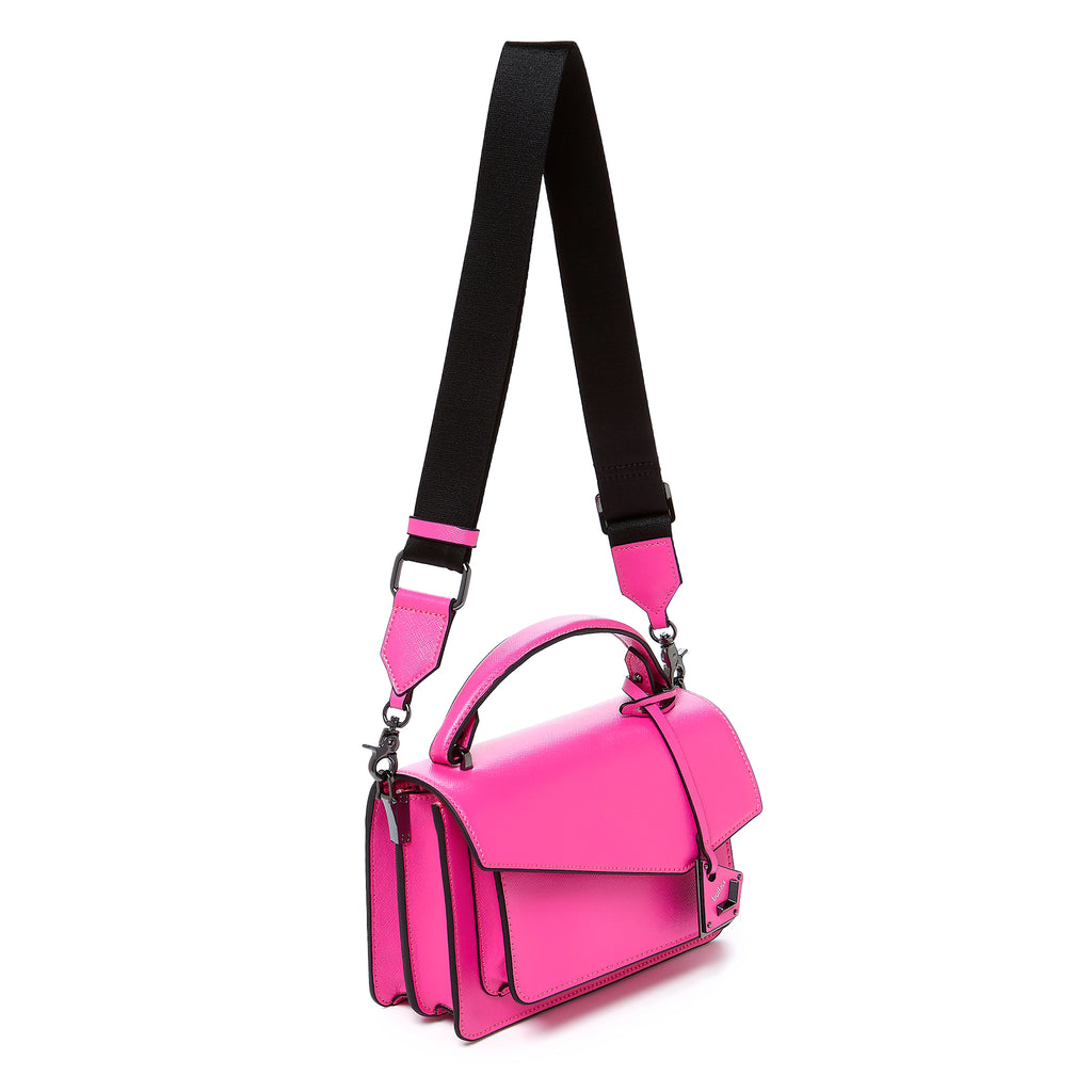 botkier cobble hill crossbody neon pink web strap