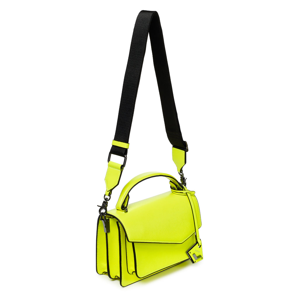 botkier cobble hill crossbody neon yellow web strap