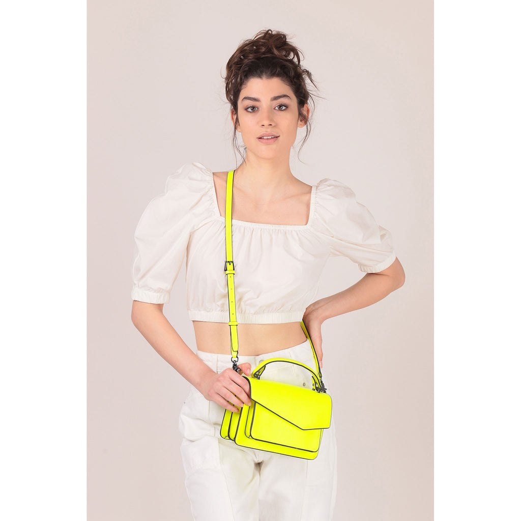botkier cobble hill crossbody neon yellow on figure crossbody