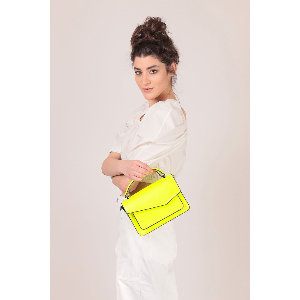 botkier cobble hill crossbody neon yellow on figure top handle