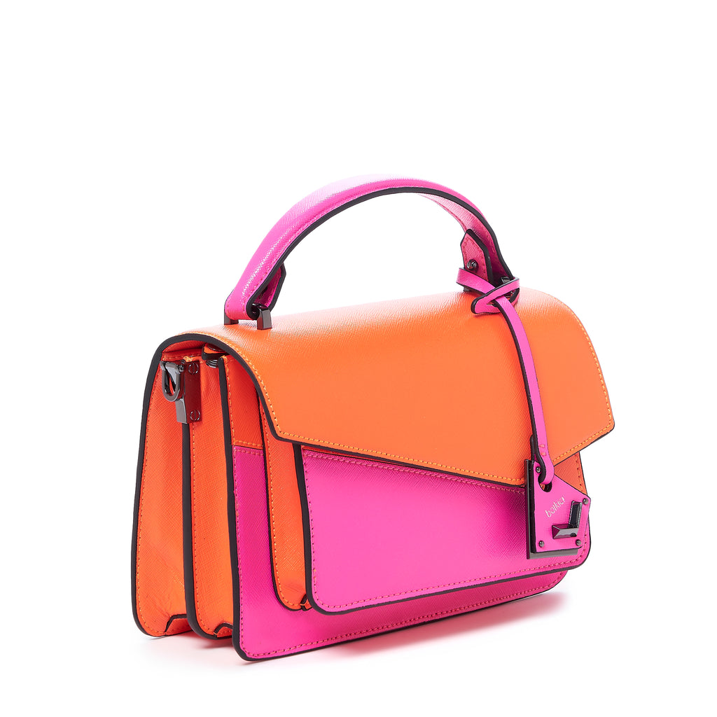 botkier cobble hill crossbody neon pink sliced angle