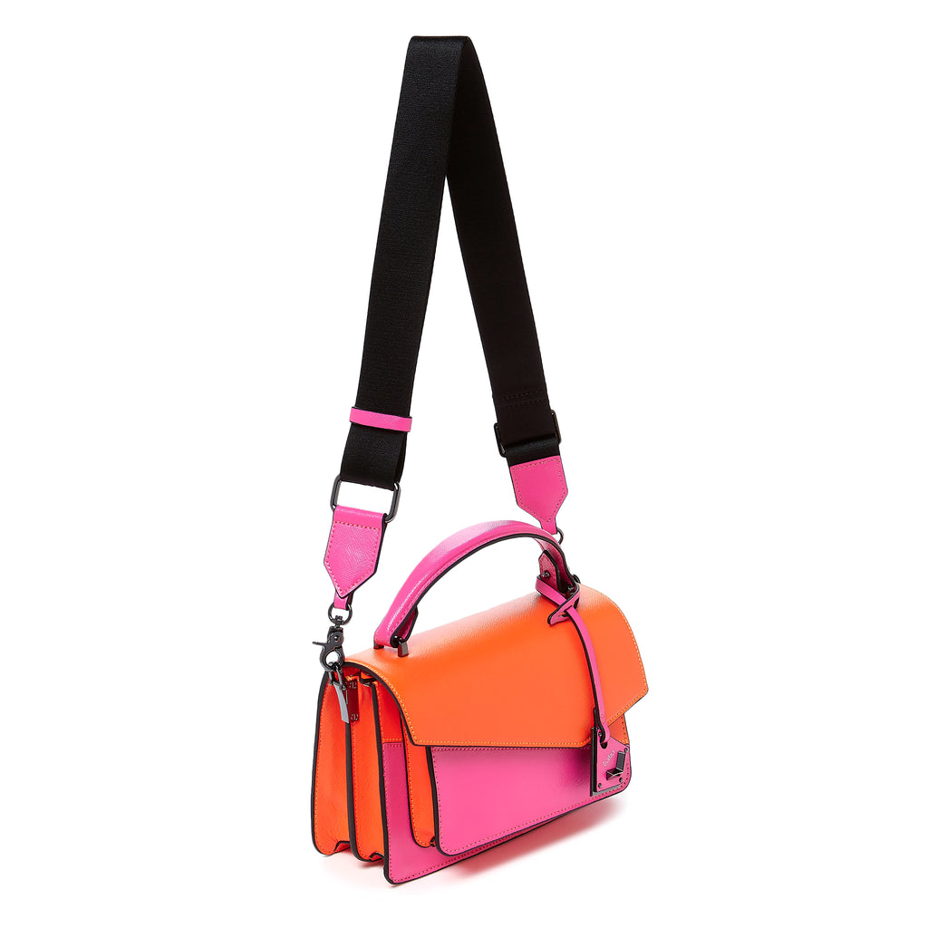 botkier cobble hill crossbody neon pink sliced web strap