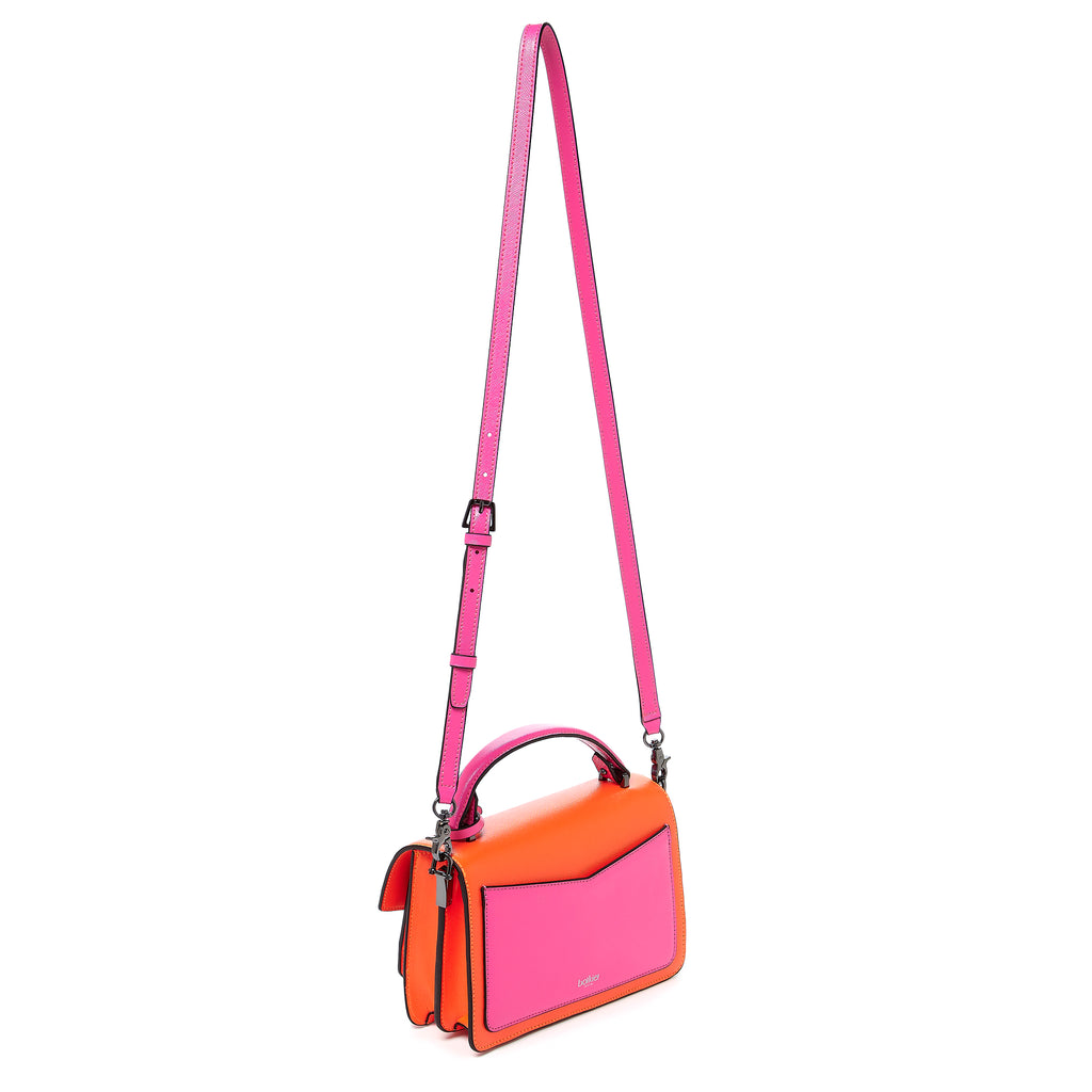 botkier cobble hill crossbody neon pink sliced leather strap