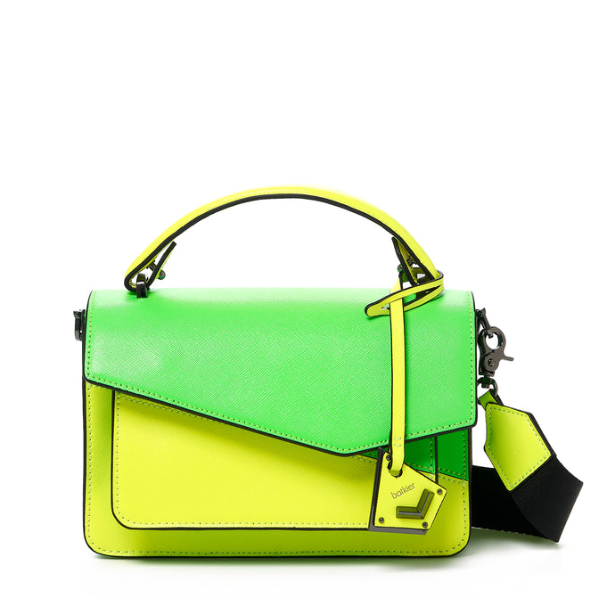 botkier cobble hill crossbody neon yellow sliced front