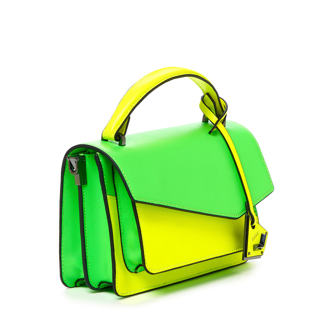 botkier cobble hill crossbody neon yellow sliced angle