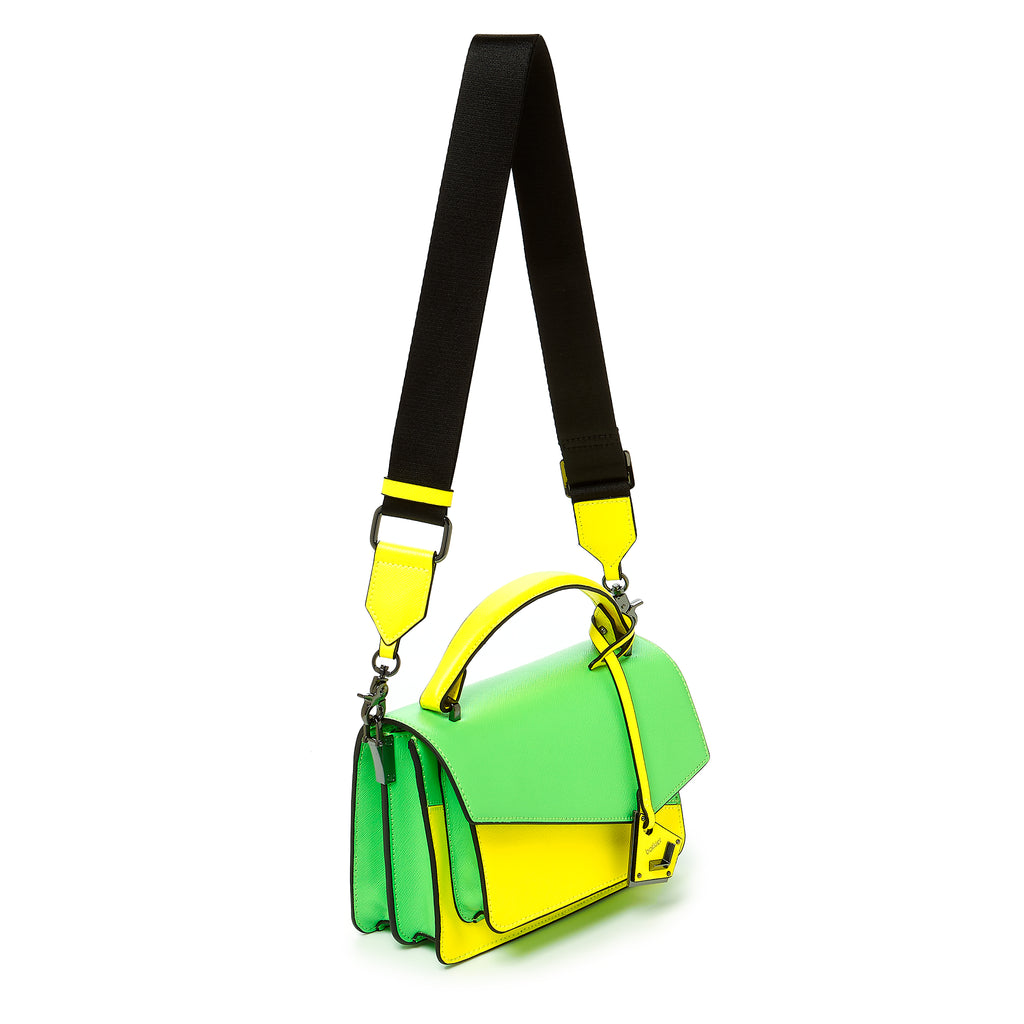 botkier cobble hill crossbody neon yellow sliced web strap