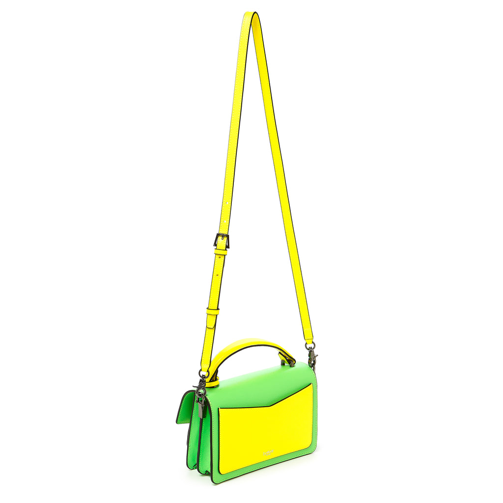 botkier cobble hill crossbody neon yellow sliced leather strap
