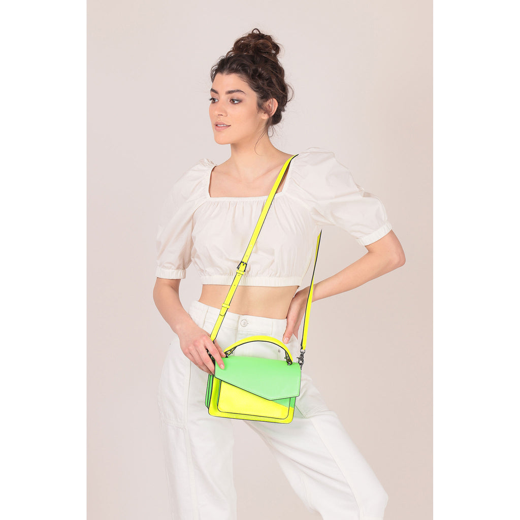 botkier cobble hill crossbody neon yellow sliced on figure top handle