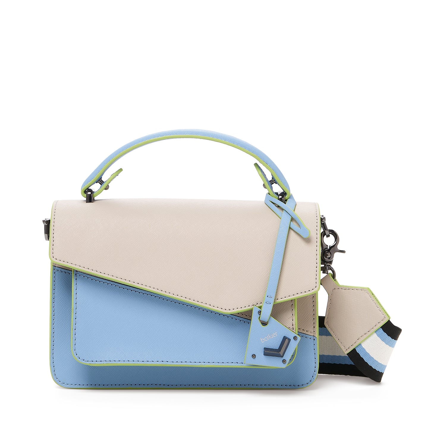 botkier cobble hill crossbody blue cadet sliced front