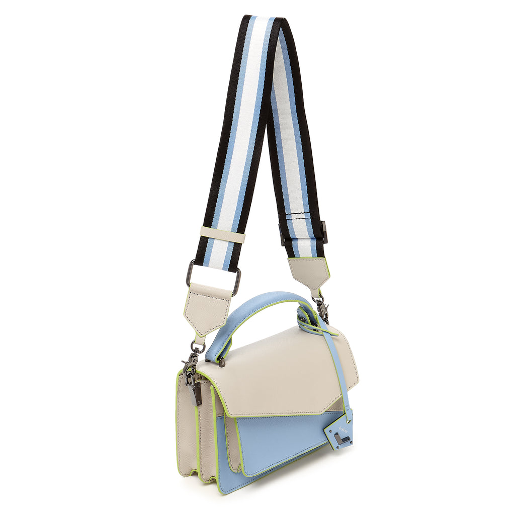 botkier cobble hill crossbody blue cadet sliced web strap