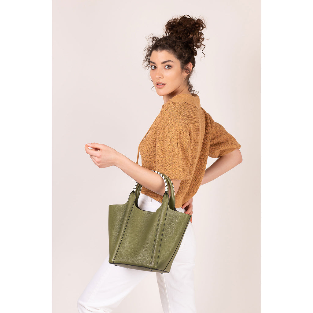 botkier nomad mini tote moss on figure strap