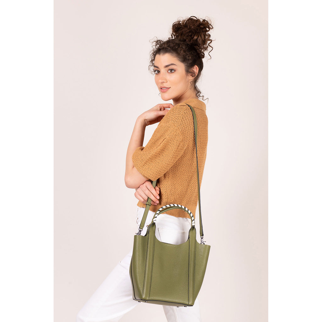 botkier nomad mini tote moss on figure