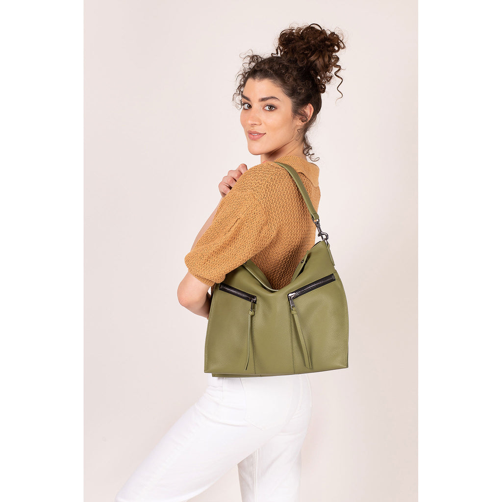 trigger convertible hobo moss on figure shoulder