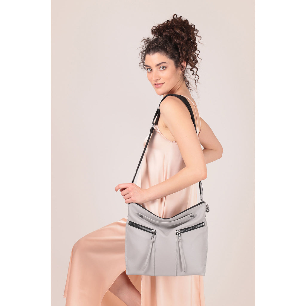 trigger convertible hobo silver grey on figure crossbody
