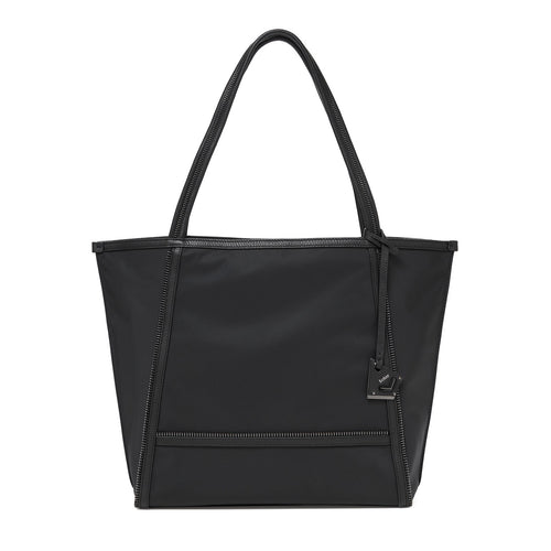 botkier soho zipper detail tote in black nylon with black leather trim