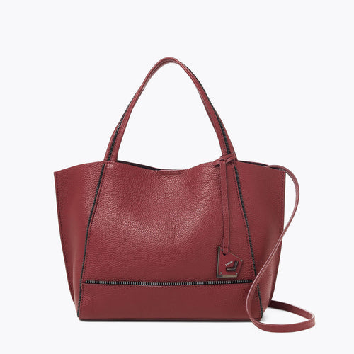 botkier soho zipper detail bite size tote satchel in cordovan red