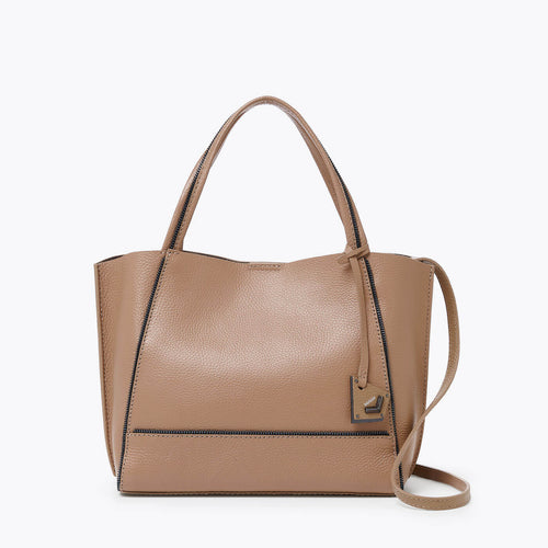 botkier soho zipper detail bite size tote satchel in hazelnut
