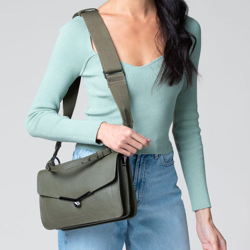 valentina flap clasp satchel in army green Alternate View