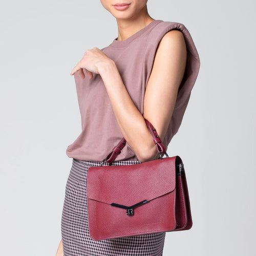 valentina flap clasp satchel in cordovan red Alternate View