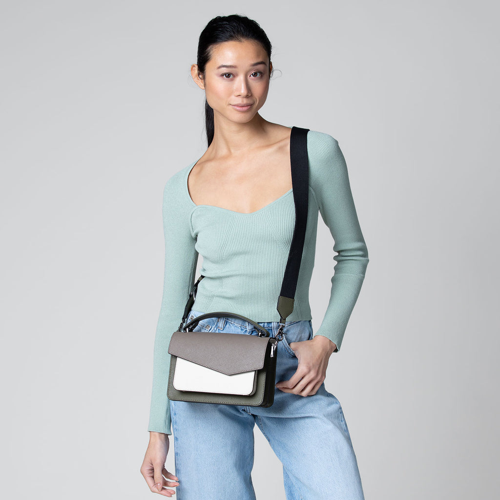 botkier cobble hill structured asymetric flap crossbody in army green, ivory, and truffle brown combo