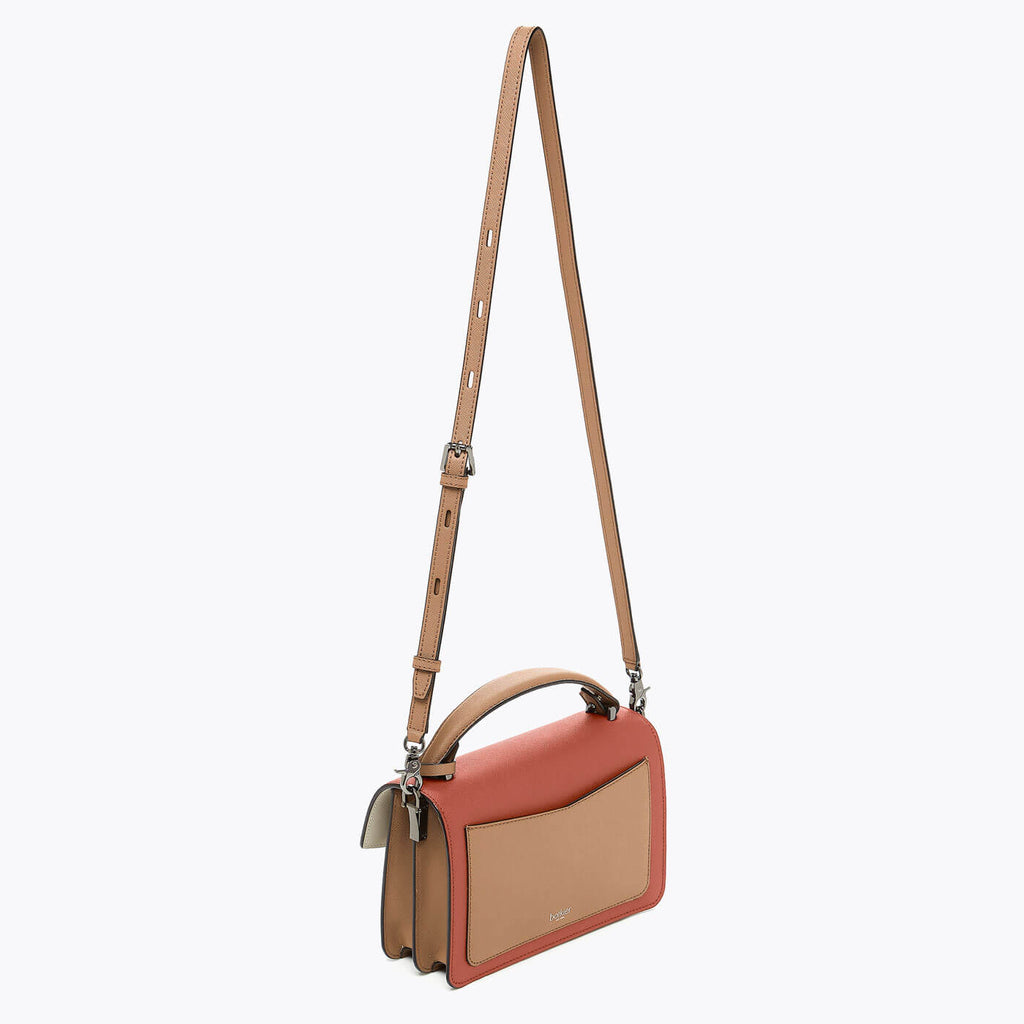 botkier cobble hill structured asymetric flap crossbody in brick red, camel brown, and ivory combo