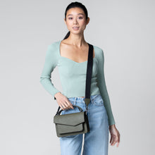 botkier cobble hill structured asymetric flap crossbody in army green