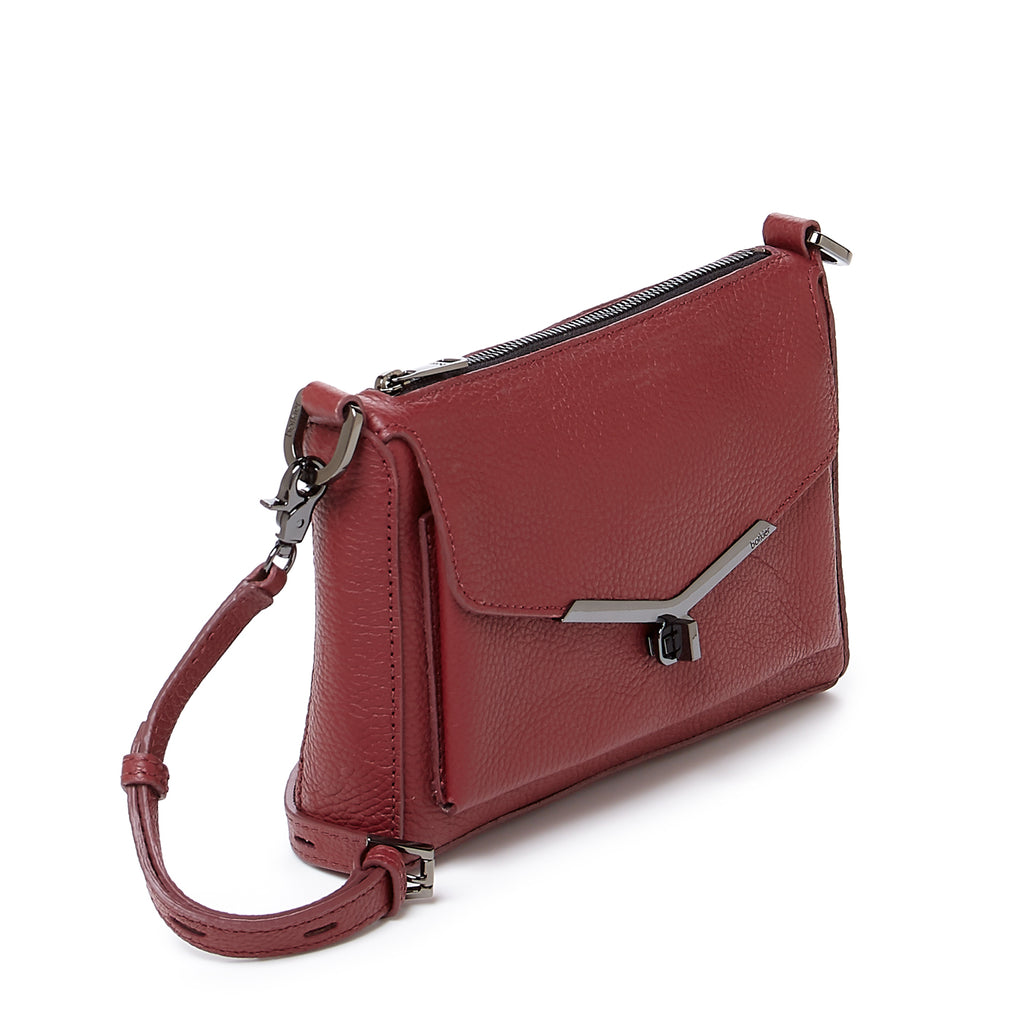 valentina front clap crossbody in cordovan red