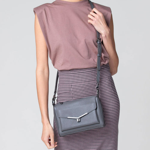 valentina front clap crossbody in smoke grey   Alternate View