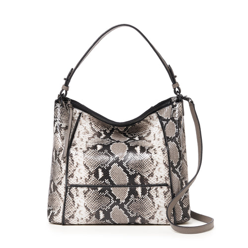 botkier soho zipper detail hobo in natural print snake