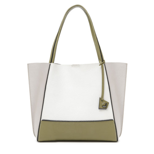 botkier soho zipper detail tote in oliver green, silver grey, and white combo