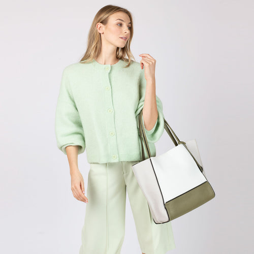 botkier soho zipper detail tote in oliver green, silver grey, and white combo Alternate View