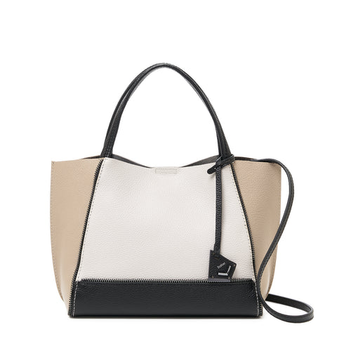 botkier soho bite size zipper detail tote satchel in latte brown, silver grey, and black combo
