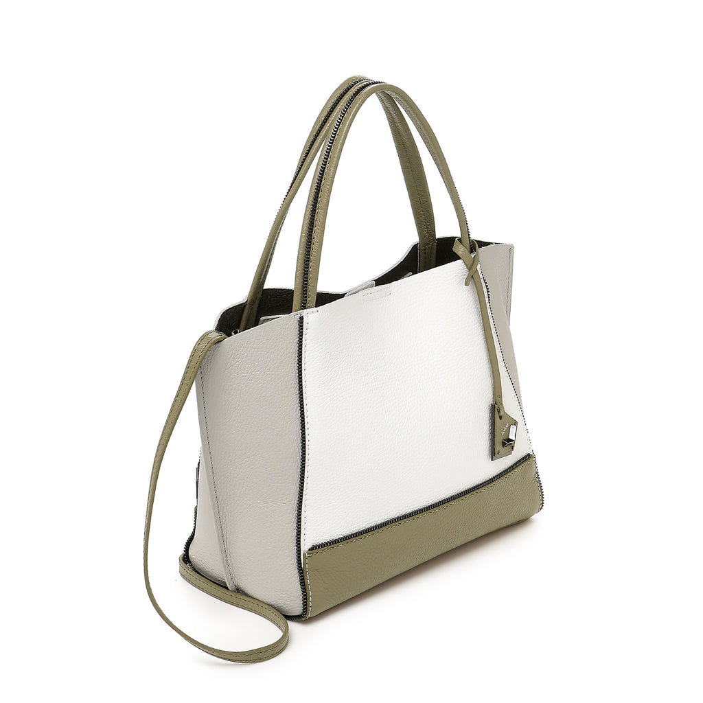 botkier soho bite size zipper detail tote satchel in olve green, silver grey, and white combo
