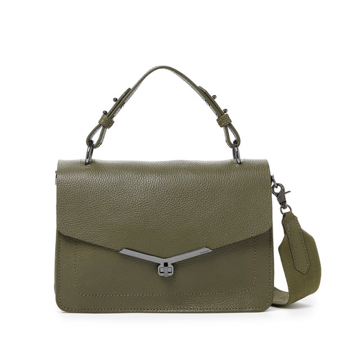 valentina flap clasp satchel in army green