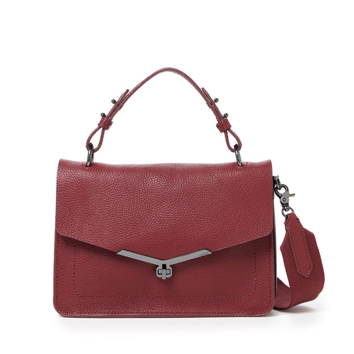 valentina flap clasp satchel in cordovan red