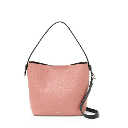 botkier crosby top handle bucket in rose pink and ivory white combo