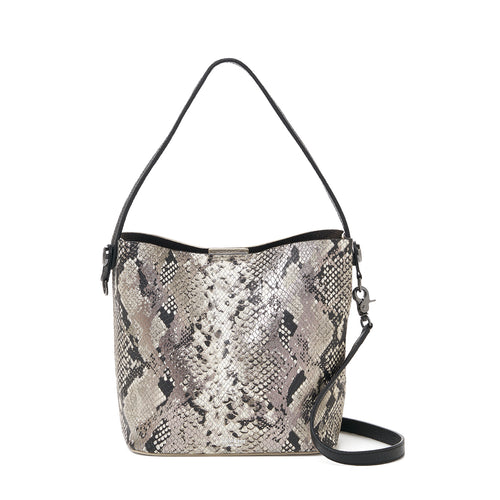 botkier crosby top handle bucket in metallic snake and ivory white combo