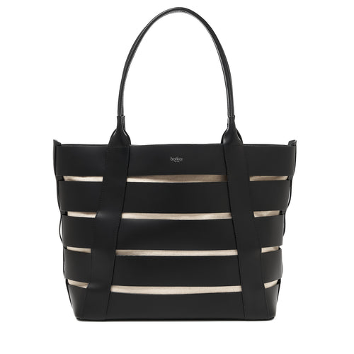botkier hampton leather cut out tote with natural canvas insert in black