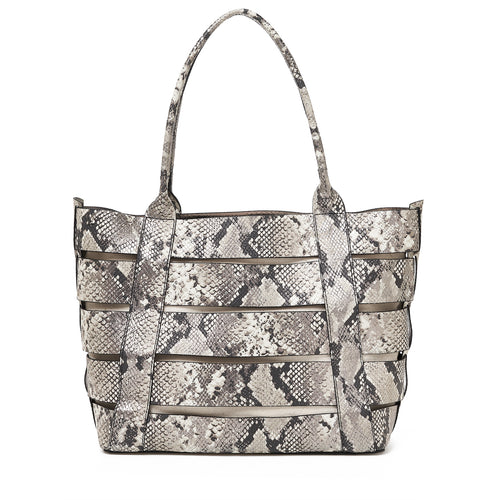 botkier hampton leather cut out tote with natural canvas insert in metallic snake