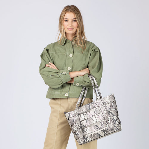 botkier hampton leather cut out tote with natural canvas insert in metallic snake Alternate View