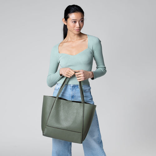 botkier soho zipper detail tote in military green Alternate View