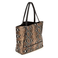 botkier soho zipper detail tote in brown print snake
