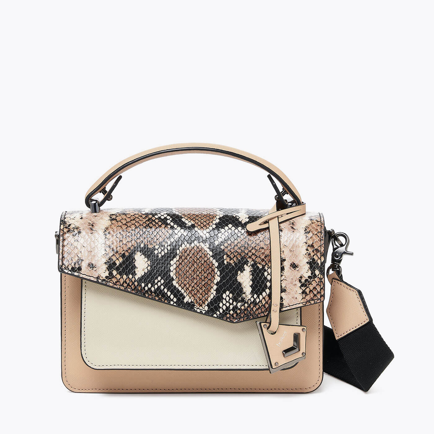 botkier cobble hill structured asymetric flap crossbody in beige and ivory with brown snake print flap