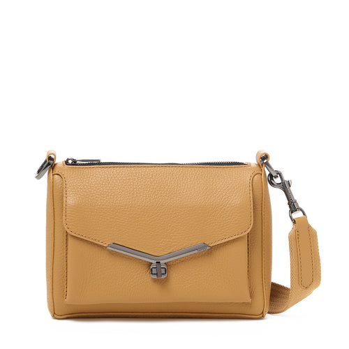 valentina front clap crossbody in camel brown