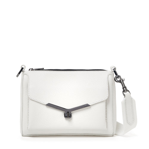 valentina front clap crossbody in marshmallow white