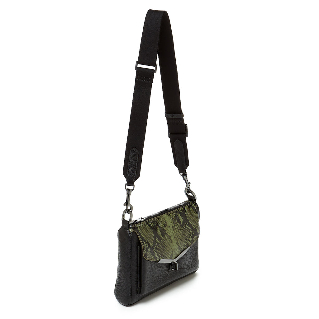 valentina front clap crossbody in black with military green flap