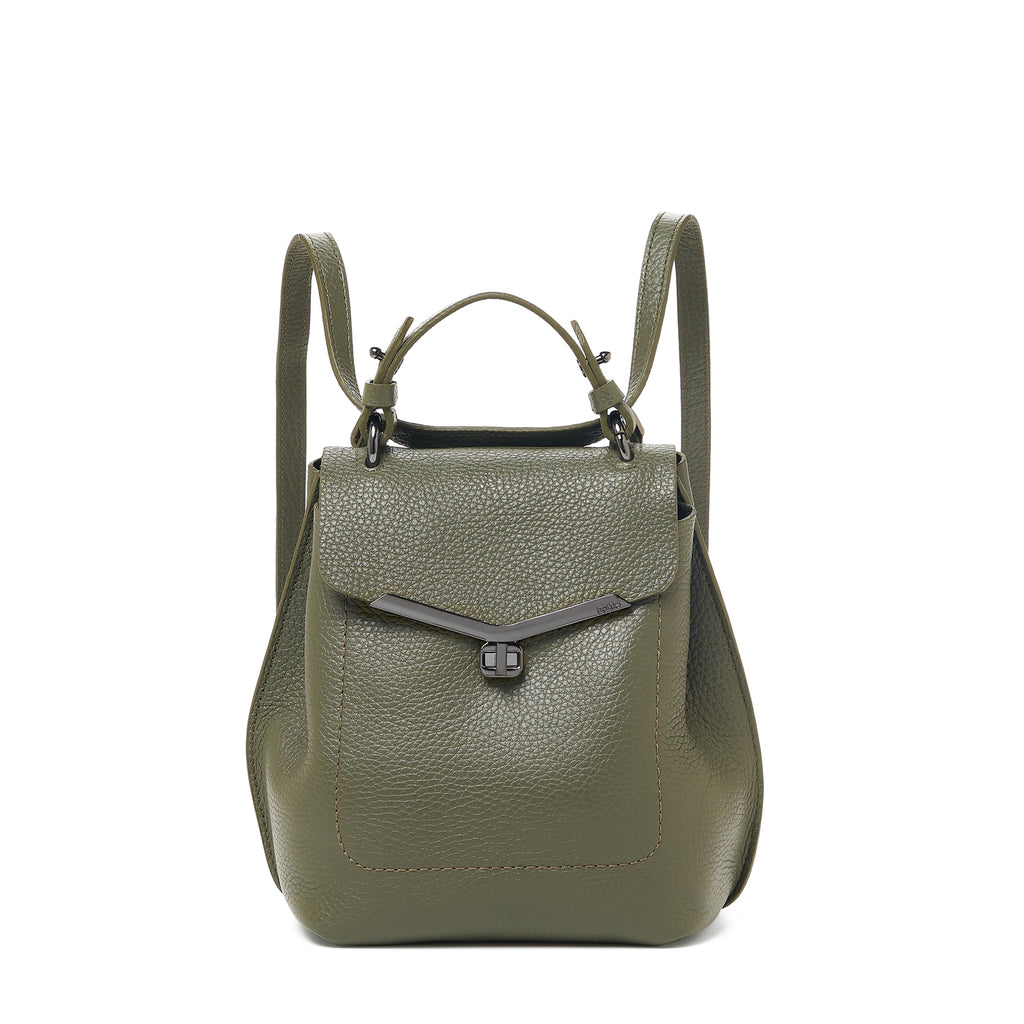 botkier valentina convertible front clasp backpack in military green