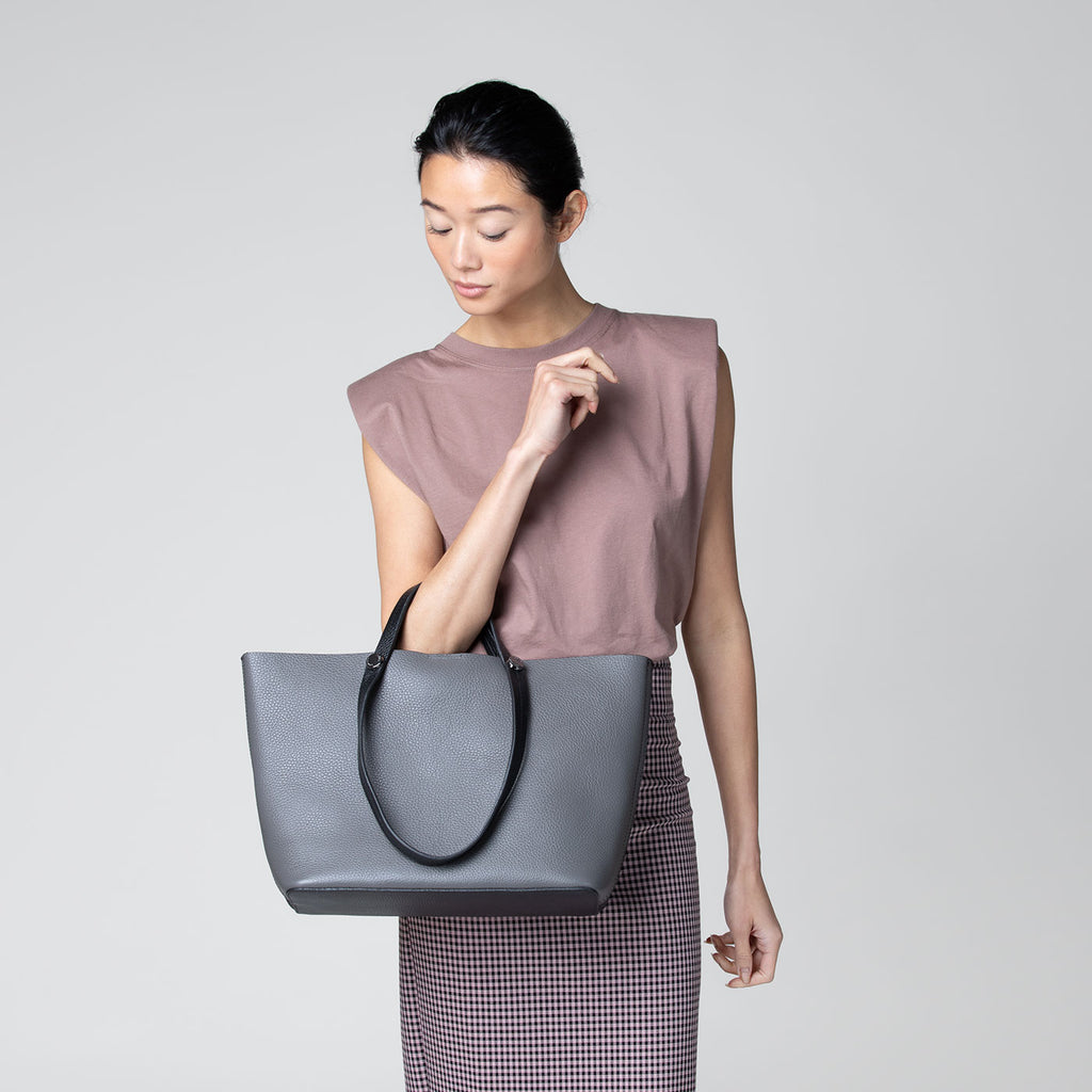 botkier crosby  duel handle tote in grey and black combo